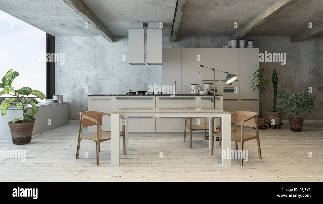 Trendy cucina bianca in soppalco interno con doghe in legno. Il ...