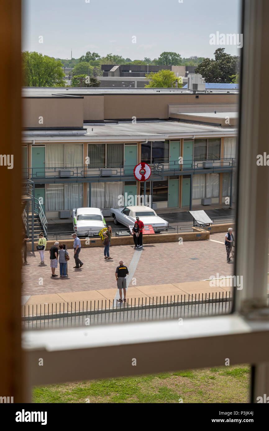 Memphis, Tennessee - il National Civil Rights Museum al Lorraine Motel, dove Martin Luther King Jr. fu assassinato nel 1968. Posto al di fuori Foto Stock