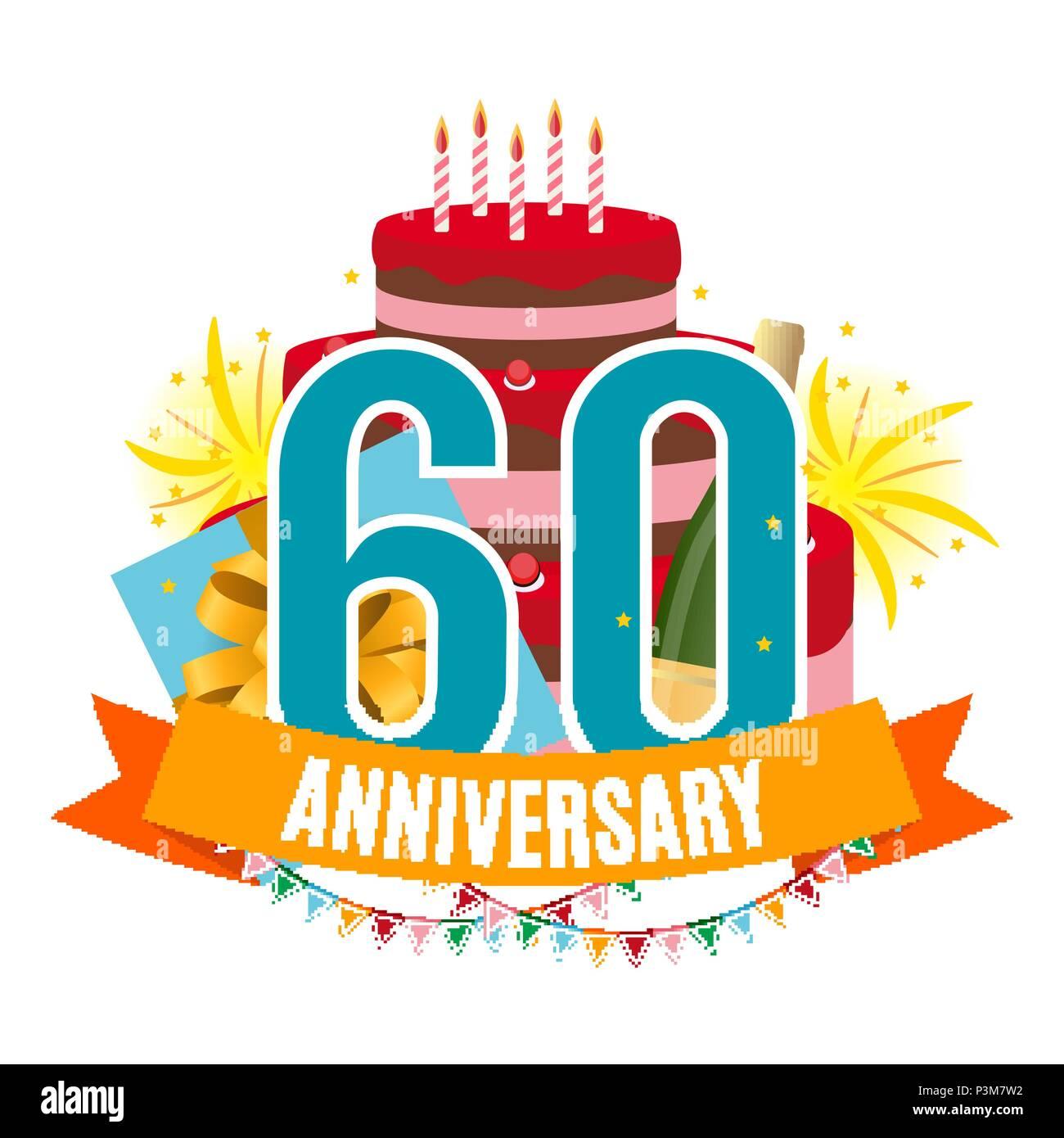 Modello 60 Anni Di Anniversario Congratulazioni Biglietto Di Auguri