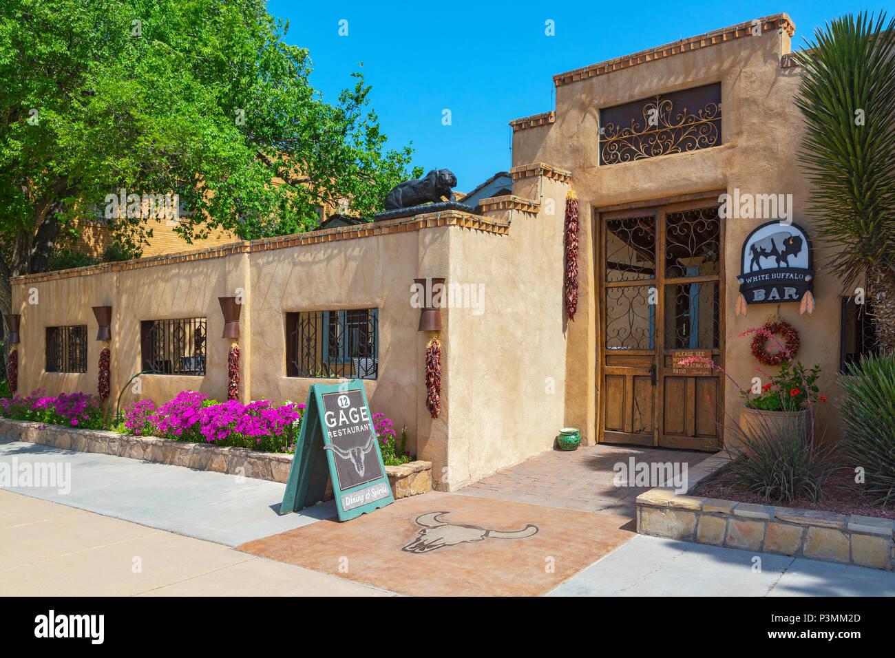 Texas, Contea di Brewster, maratona, Gage Hotel, 12 Gage ristorante, White Buffalo Bar Immagini Stock