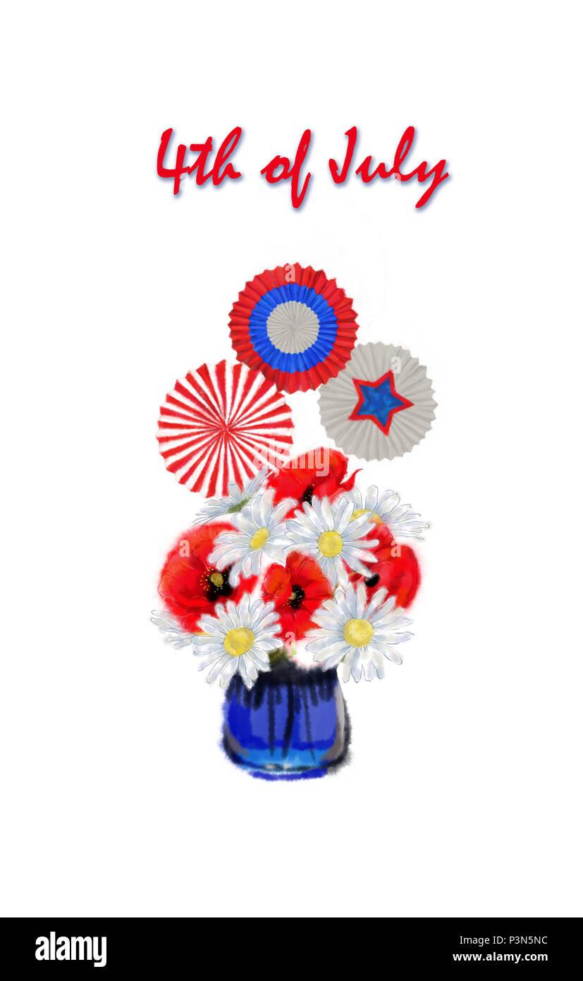 Piccolo 4 luglio allestimento floreale con colori patriottici Cockades e stelle. Margherita e il papavero Bouquet tricolore con decor e per il quarto di luglio Clip Art. Immagini Stock