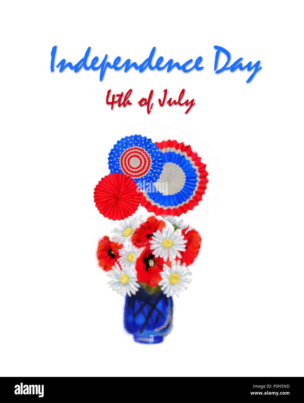 4 luglio allestimento floreale con colori patriottici Cockades e stelle. Margherita e il papavero Bouquet tricolore con decor e per il quarto di luglio Clip Art. Immagini Stock