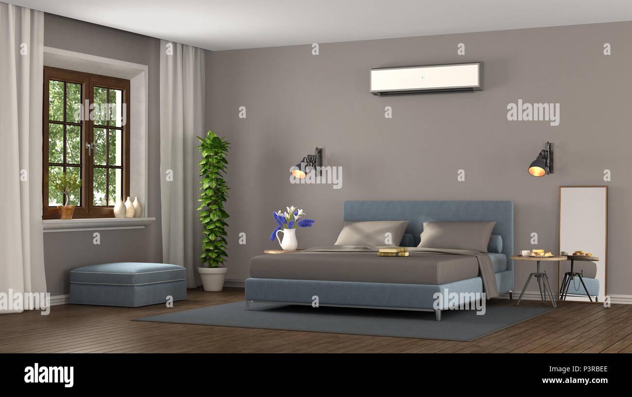 Camera Da Letto Moderna Marrone : Blu e marrone master moderna camera da letto con aria condizionata