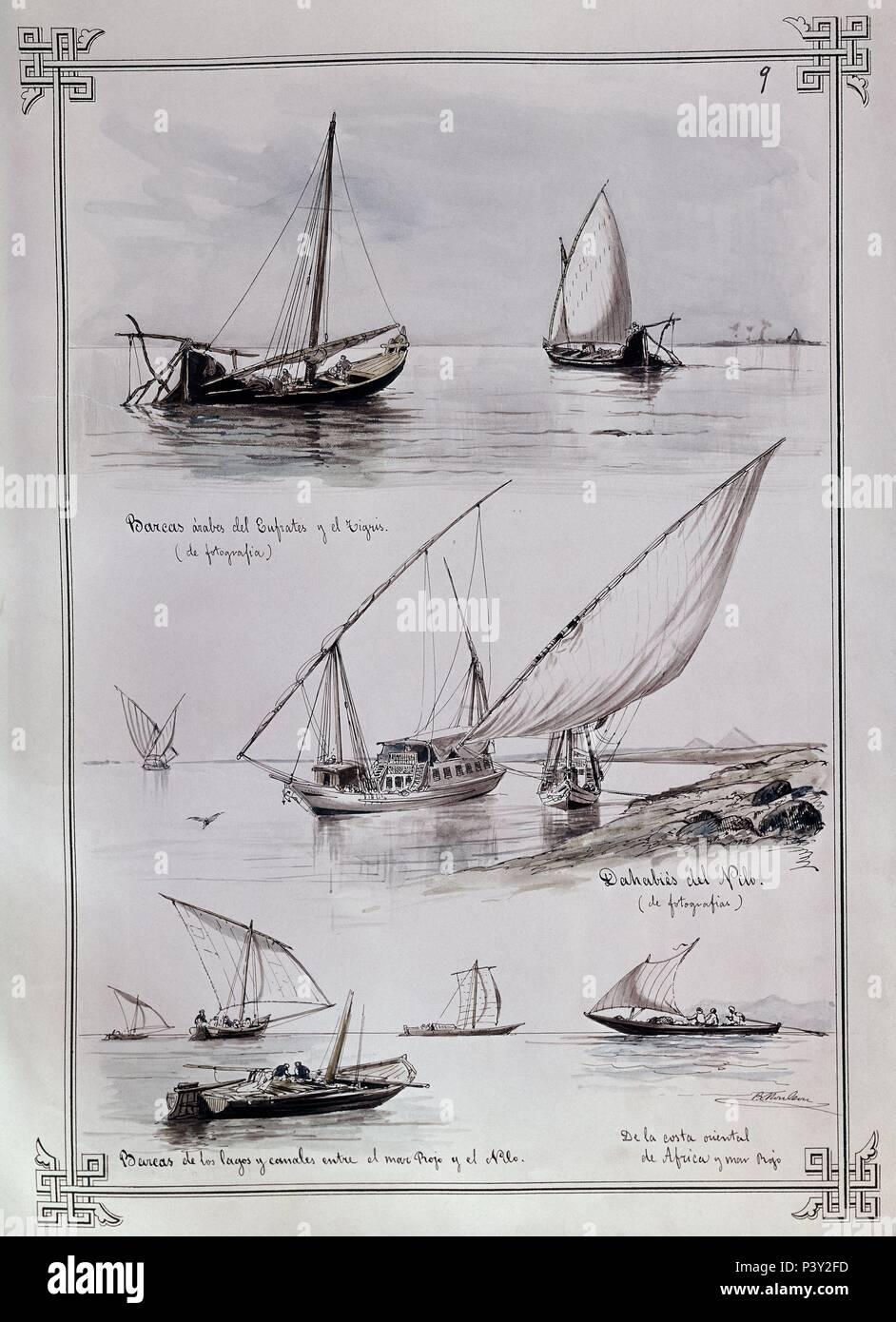 BARCAS FLUVIALES DE ORIENTE MEDIO. Autore: Rafael Monleón (1853-1900). Posizione: MUSEO NAVAL / MINISTERIO DE MARINA, MADRID, Spagna. Immagini Stock