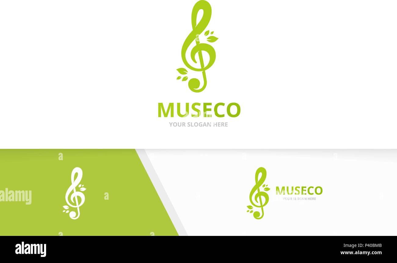 Il Vettore Chiave Di Violino E Di Foglie Di Combinazione Di Logo La