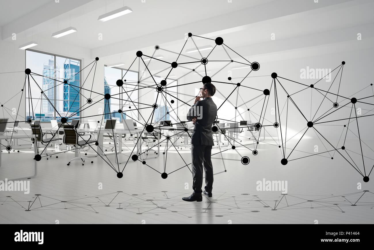 Networking e comunicazione sociale concetto come punto efficace per aziende moderne Immagini Stock