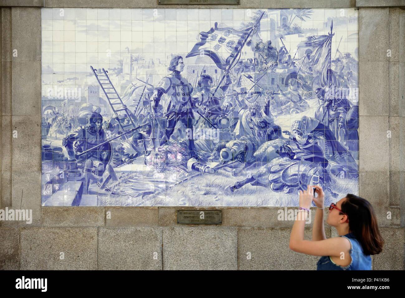 Porto portogallo murale con infante d. henrique nella conquista di