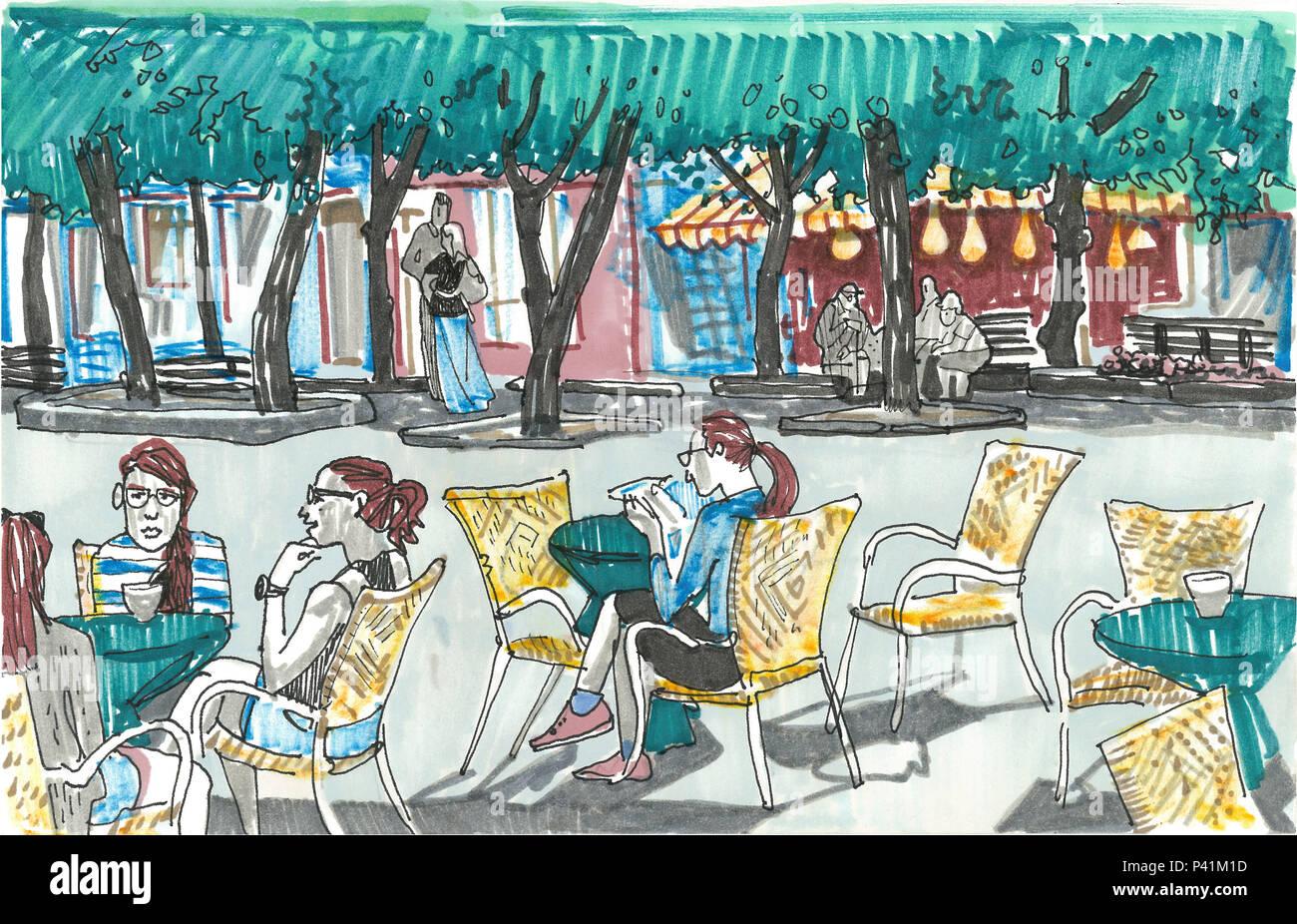 Ragazze seduti ai tavoli di outdoor cafe. Linea di alberi di tiglio, vetrine, persone sullo sfondo. Disegnato a mano stile sketch pennarello illustrazione. Città europea street. Kaunas. La lituania Immagini Stock