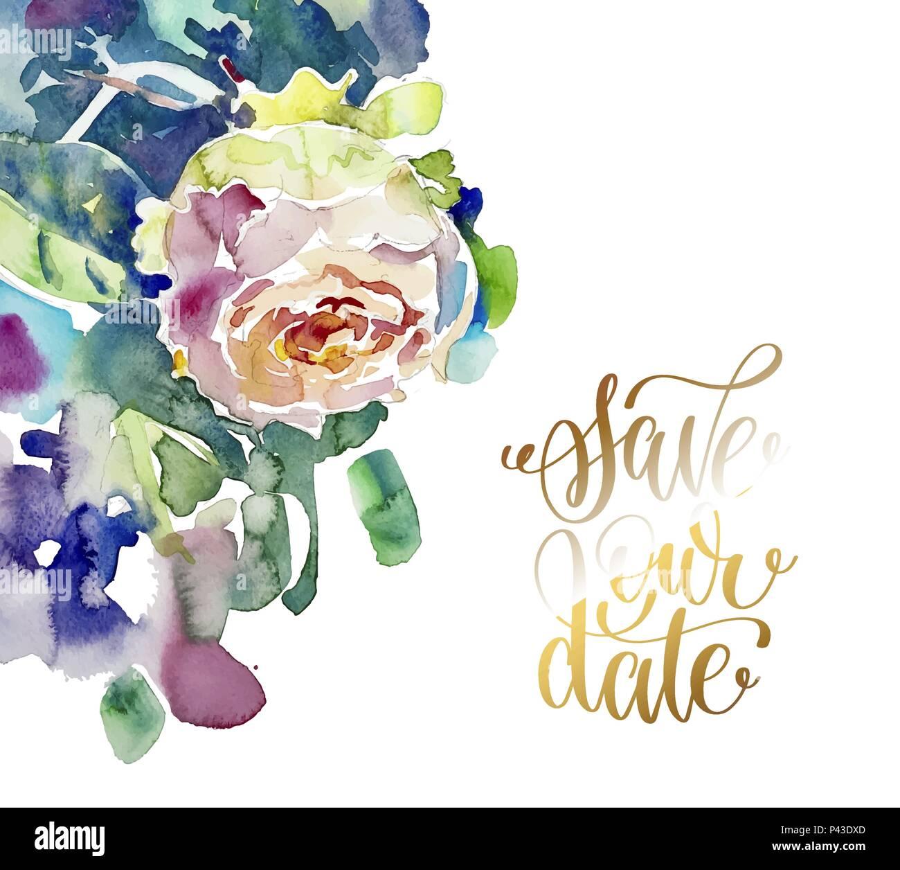 Pittura A Mano Acquerello Rose Biglietto Di Auguri Per Matrimonio