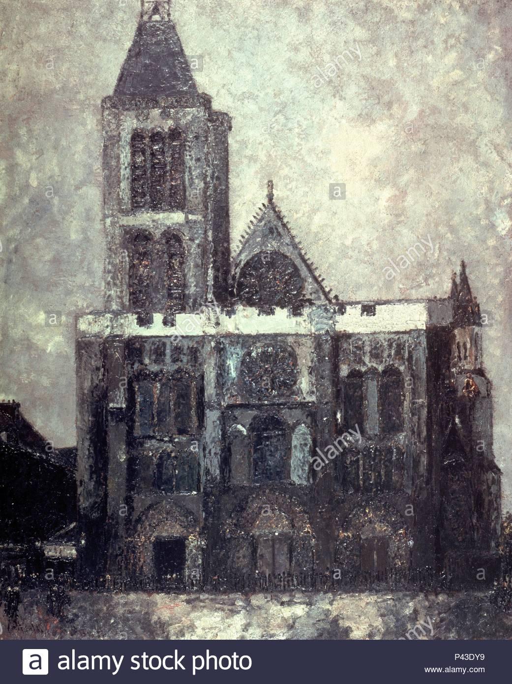 BASILICA DE SAN DENIS. Autore: Maurice Utrillo (1883-1955). Posizione: il Kunsthaus di Zurigo, Svizzera. Immagini Stock