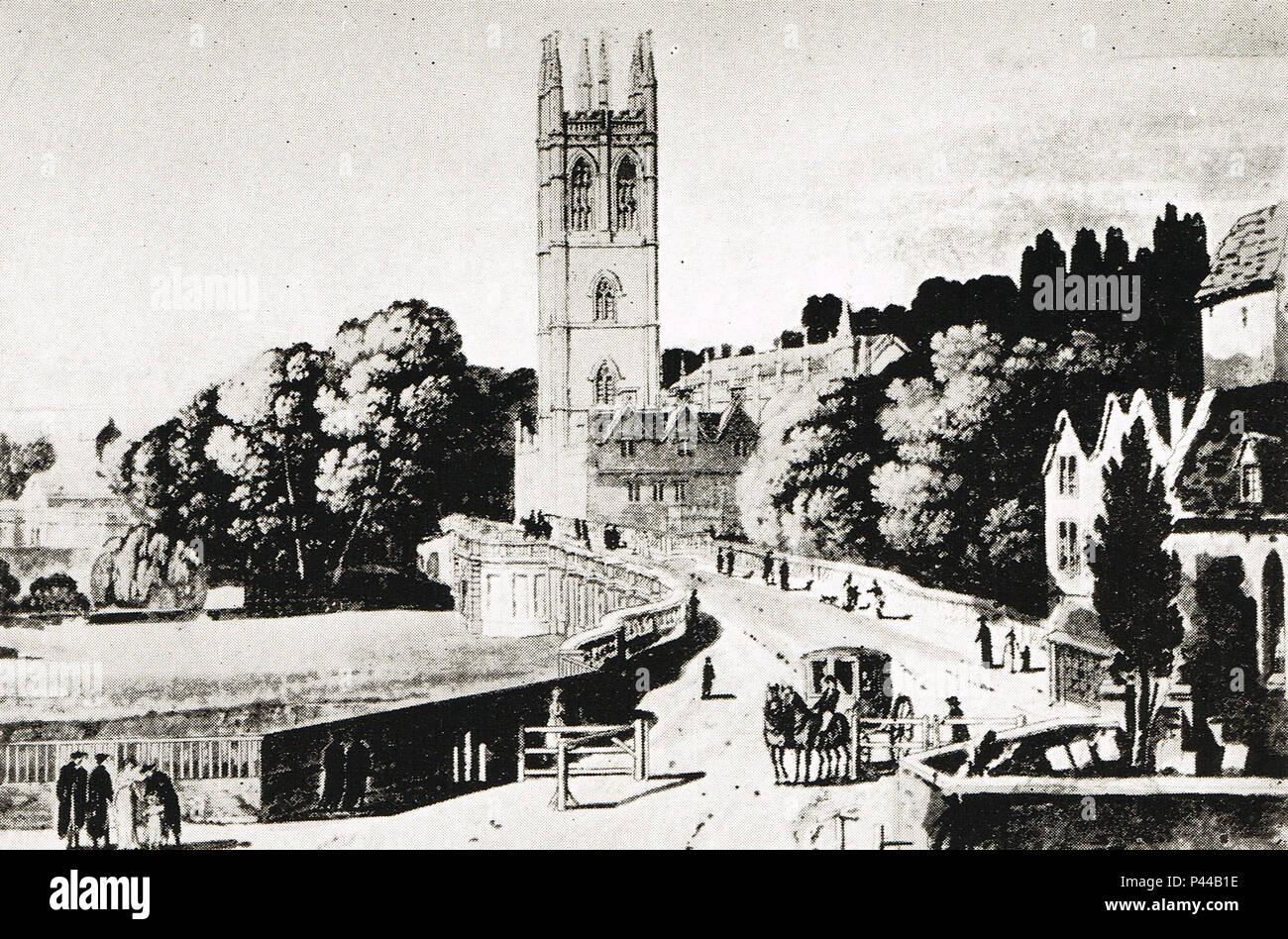 Un Post-Chaise lasciando la Oxford Turnpike legato per Londra, 1800 Immagini Stock