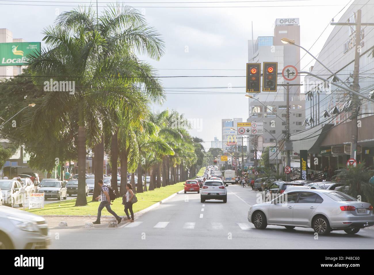 Goiânia, GO - 10.04.2015: RUA ARBORIZADA - Avenida T-063, Setor Bueno . (Foto: Murilo Bastos / Fotoarena) Foto Stock