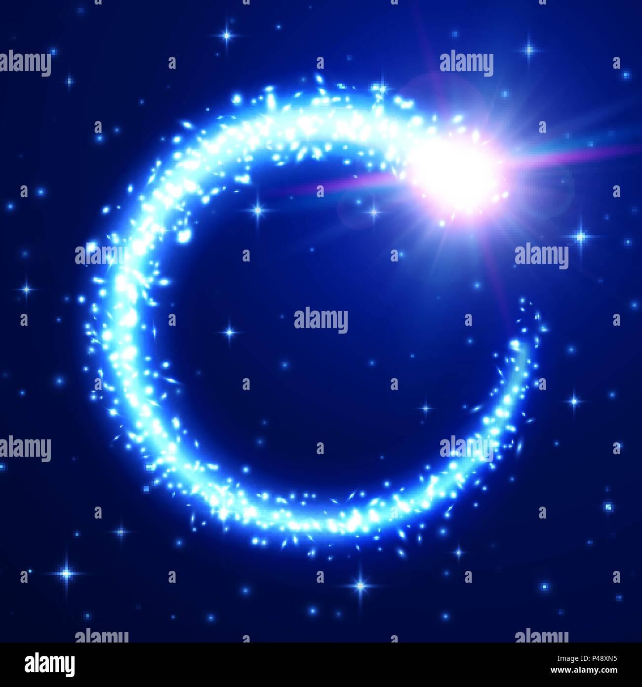 Flying Meteor Su Blu Cielo Stellato Sullo Sfondo Luce Soffusa Di