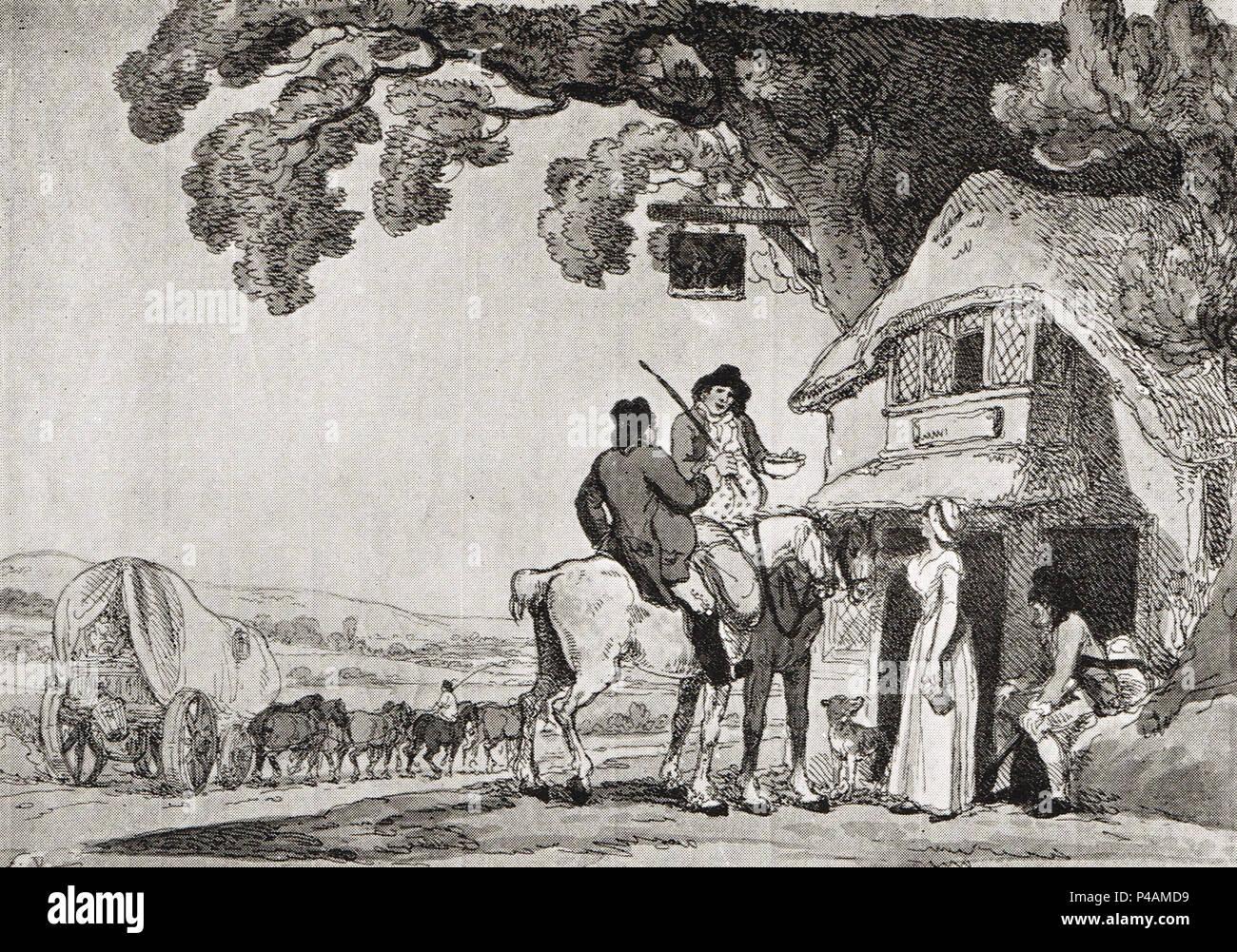 I viaggiatori tenendo il ristoro presso un paese Bistro, durante una fase di carro passa da, 1800 Immagini Stock