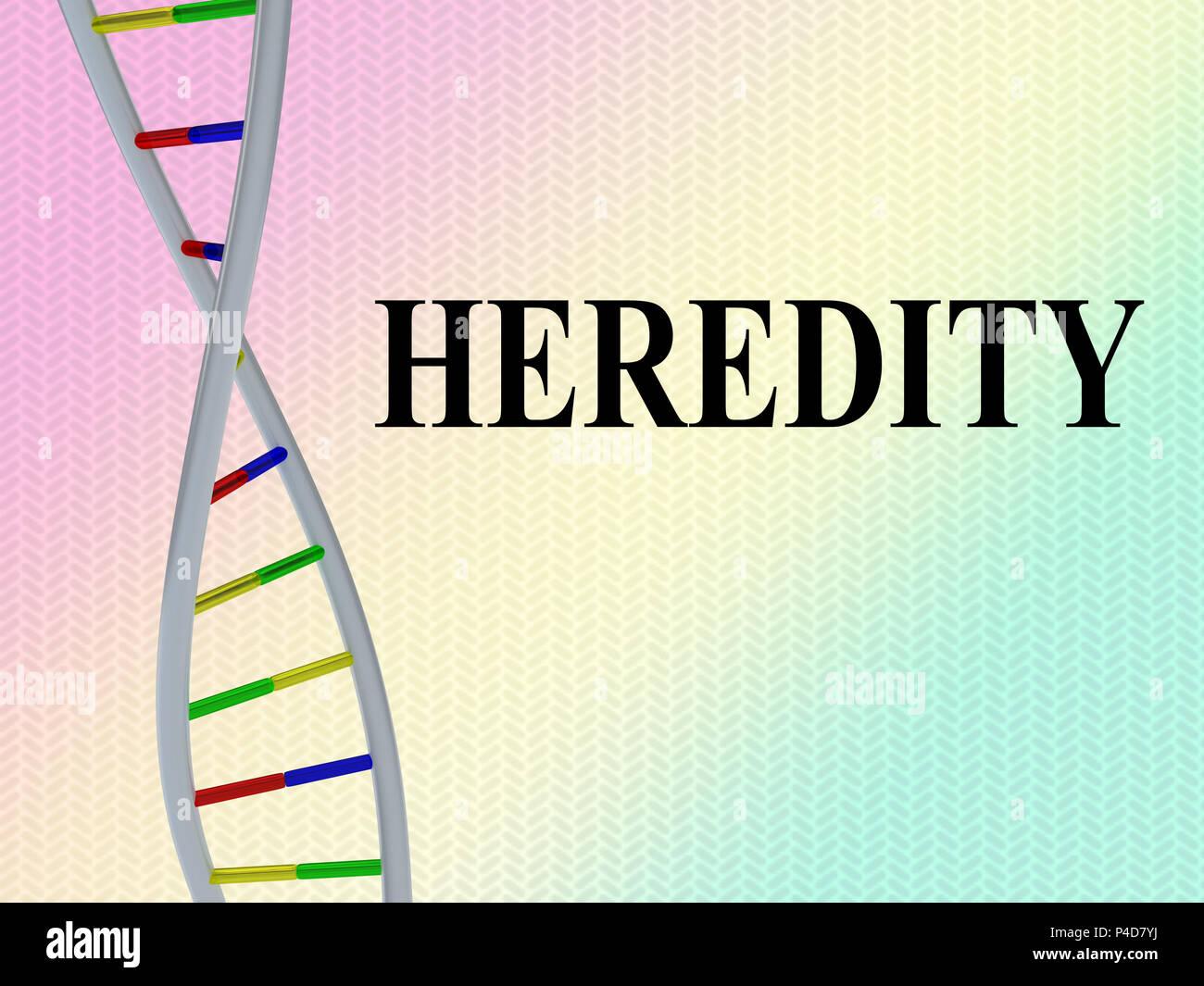 3D'illustrazione dell'eredità script con la doppia elica del DNA , isolate su pattern colorato. Immagini Stock