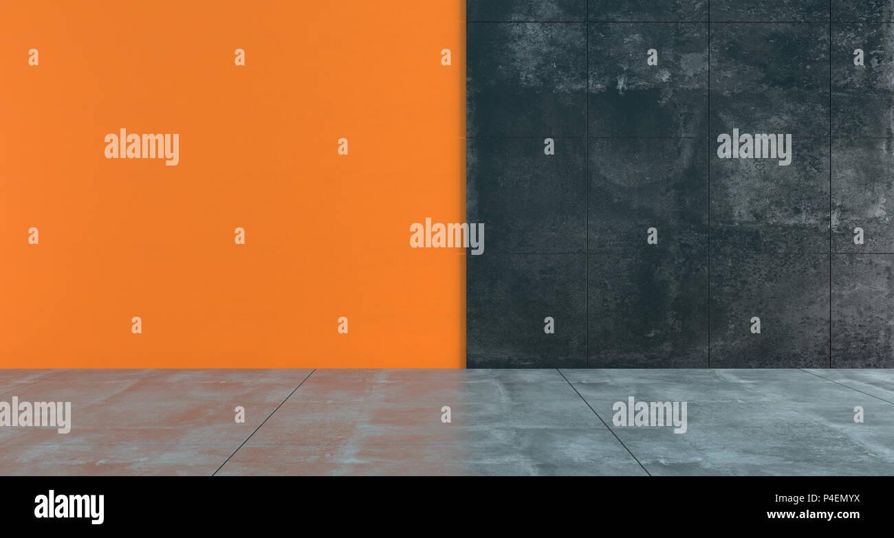 Pareti Colore Arancione : Alto contrasto stanza vuota con colore arancione scuro e pareti di