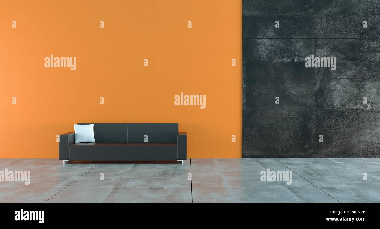 Divano Pelle Arancione : Alto contrasto stanza vuota con colore arancione scuro e le pareti