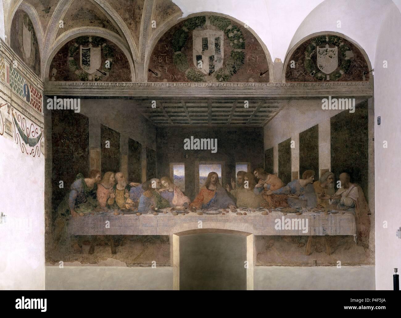 Scuola Italiana L Ultima Cena Dopo Il Restauro 1495 1497 Affresco 480 X 880 Cm Milano