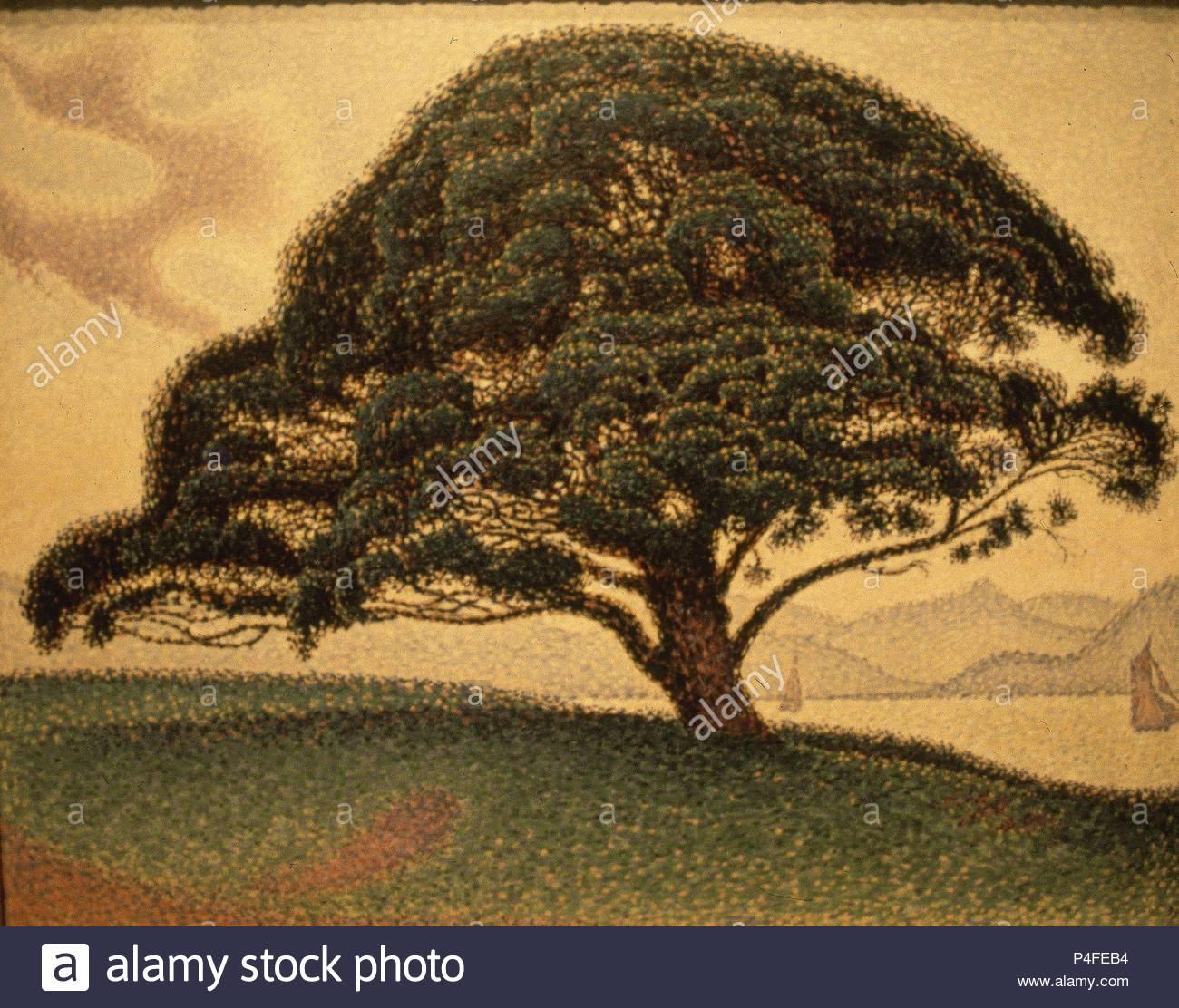 Il Pino Bonaventura - 1893 - 65,7x81 cm - Olio su tela. Autore: Paul Signac (1863-1935). Posizione: Museo delle Belle Arti, a Houston in Texas. Noto anche come: PINO DE LA BUENAVENTURA. Foto Stock