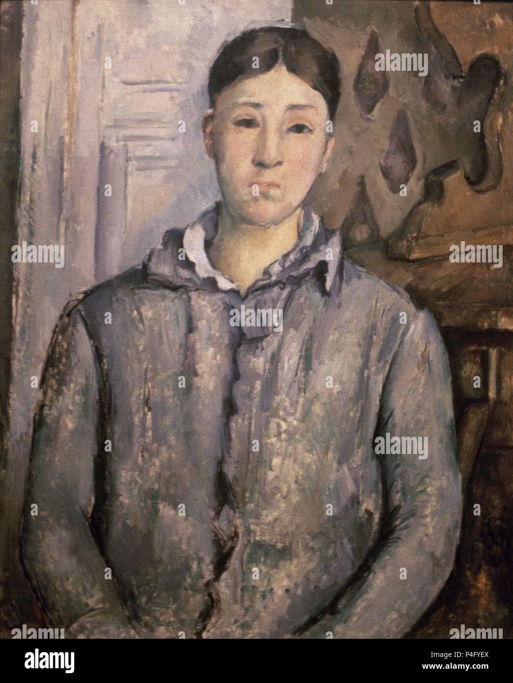 """'Madame Cézanne in blu"""", 1888-1890, olio su tela, 74 x 61 cm. Autore: Paul Cézanne (1839-1906). Posizione: Museo delle Belle Arti, a Houston in Texas. Foto Stock"""