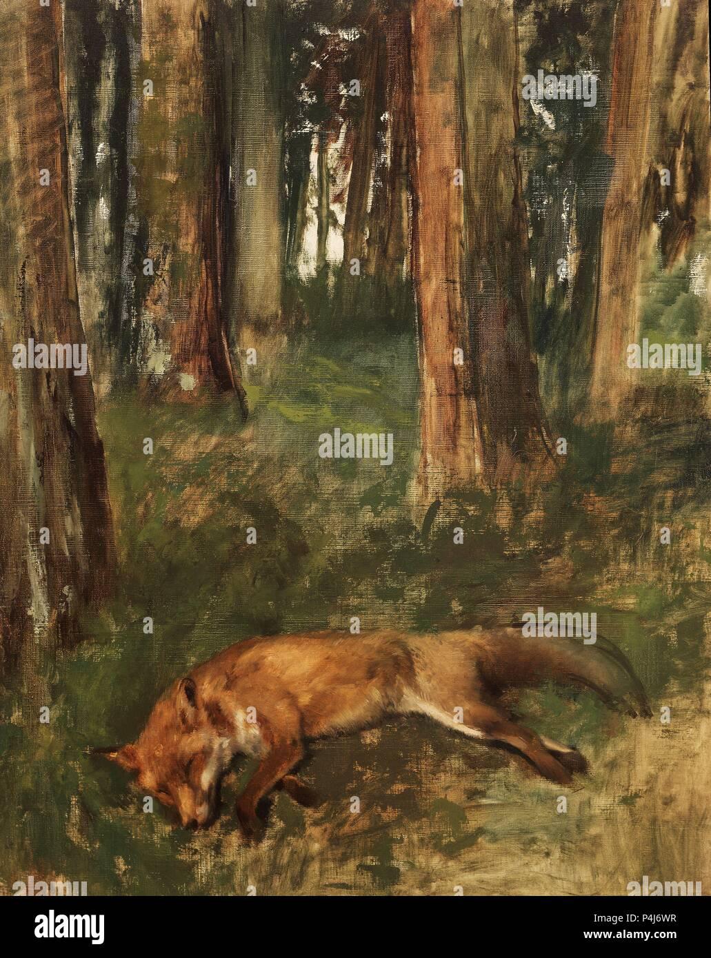 Fox morto giacente nel sottobosco - 1864/68 - 93x72 cm - Olio su tela. Autore: Edgar Degas (1834-1917). Posizione: Museo delle Belle Arti, Rouen, Francia. Noto anche come: ZORRO MUERTO, SOTOBOSQUE; RENARD MORT DANS LE sous-Bois. Foto Stock