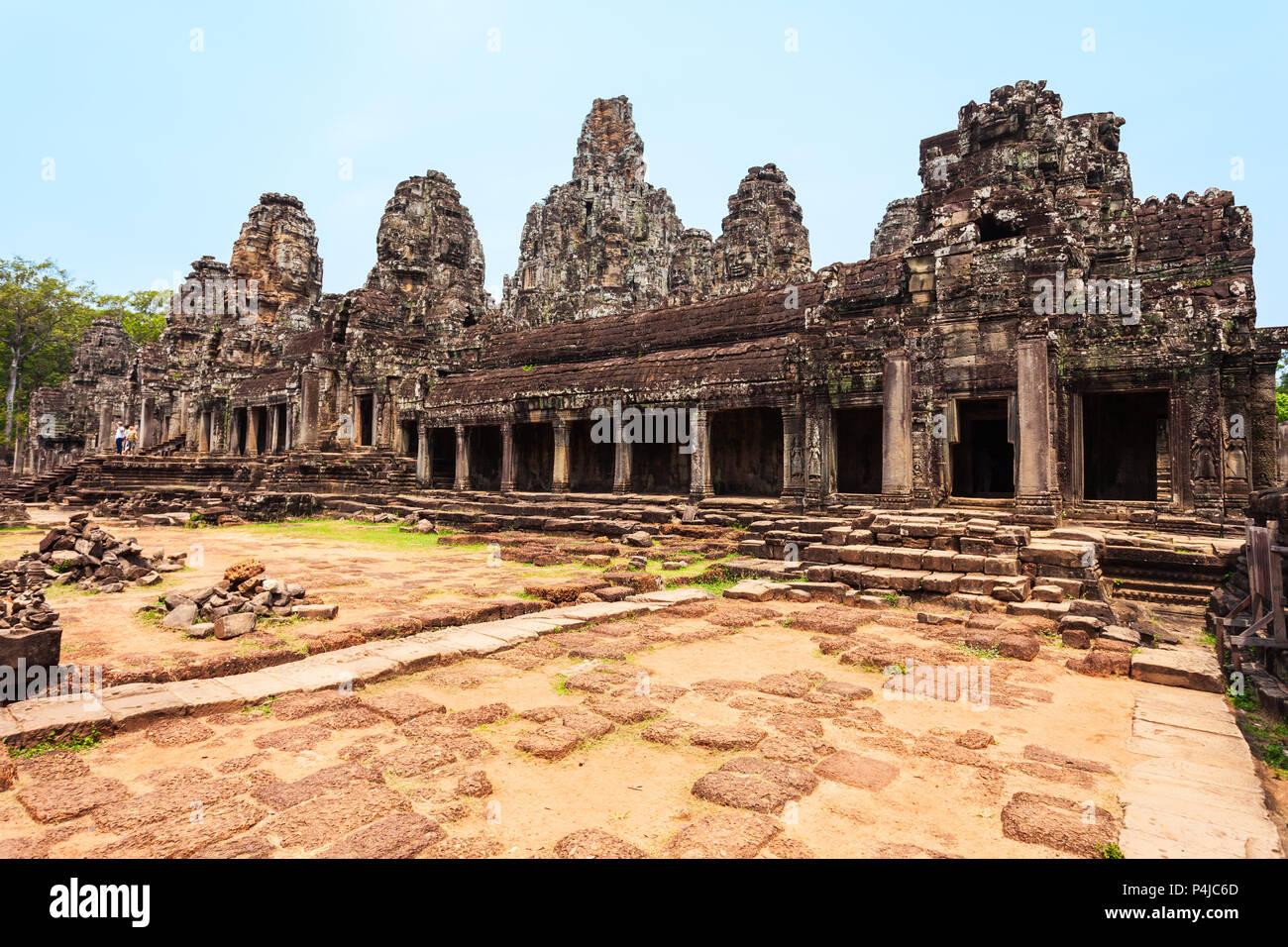 Bayon è un ben noto tempio Khmer di Angkor in Cambogia Immagini Stock