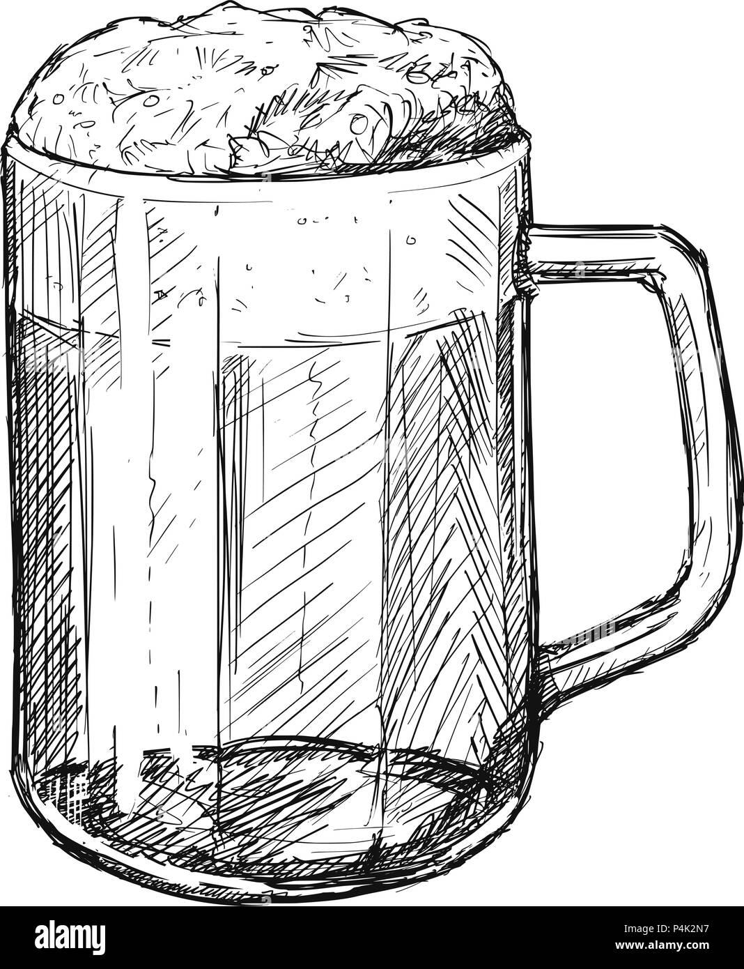 Vector Disegno Illustrazione Del Boccale Di Birra Illustrazione