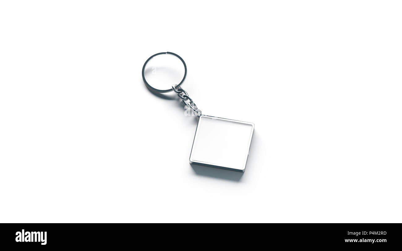 Metallo bianco Rombo bianco catena chiave mock up vista laterale, rendering 3d. Argento chiaro design portachiavi mockup isolato. Vuoto portachiavi semplice titolare di souvenir Immagini Stock