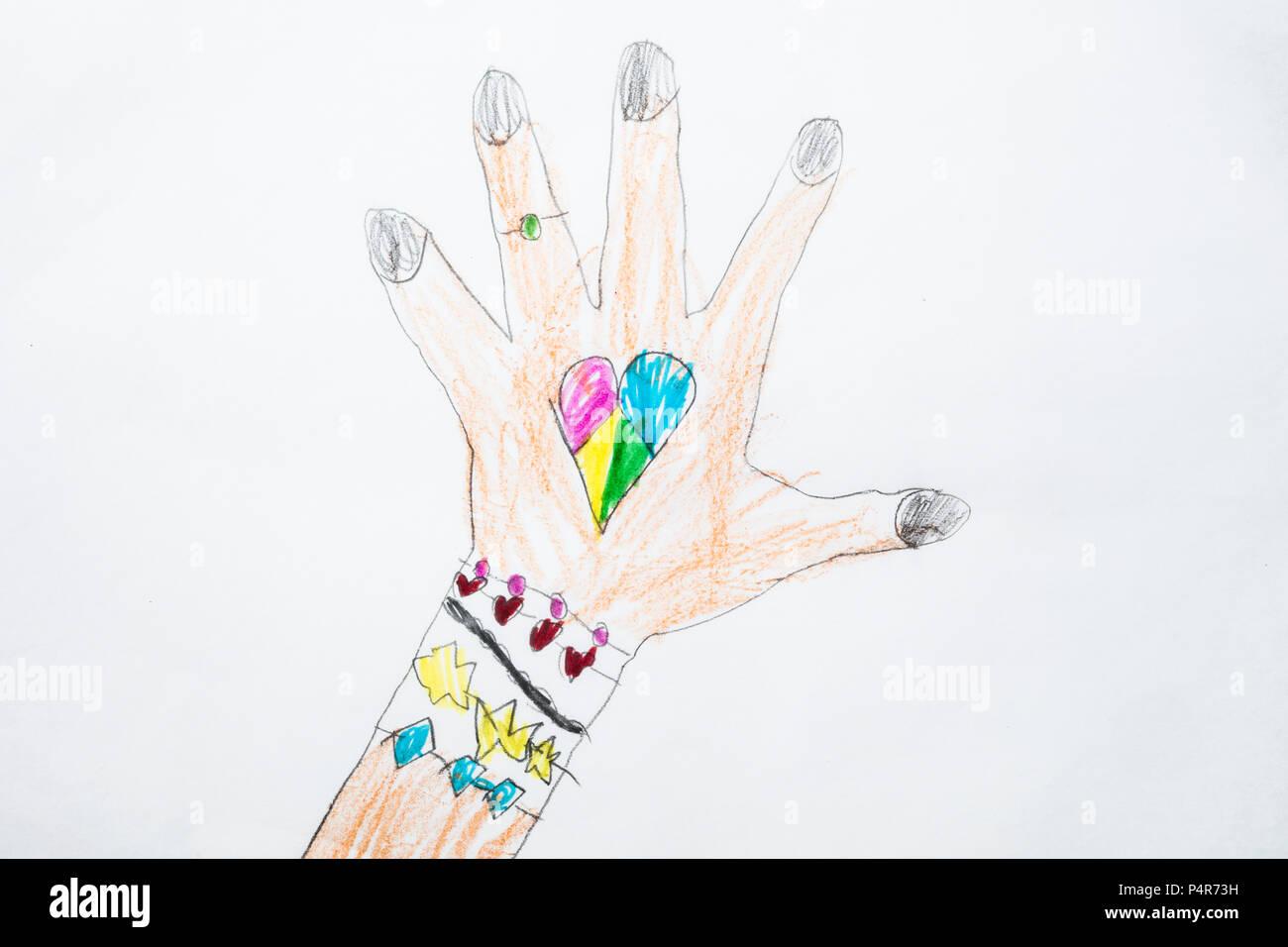 Disegno Di Un Bambino : Colorato di capretto il disegno di un bambino mano con forma di