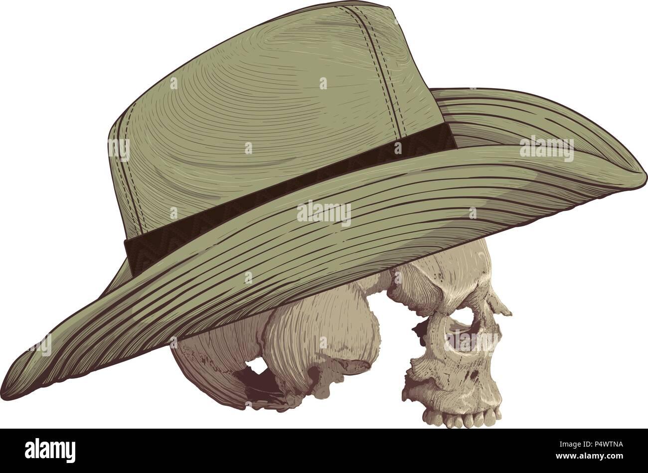Cowboy Skull Drawing In Vintage Immagini   Cowboy Skull Drawing In ... acb4720604c9