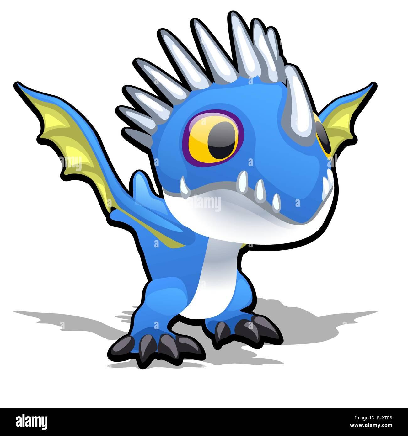 Drago Giocattolo In Colore Blu Isolato Su Sfondo Bianco Vector