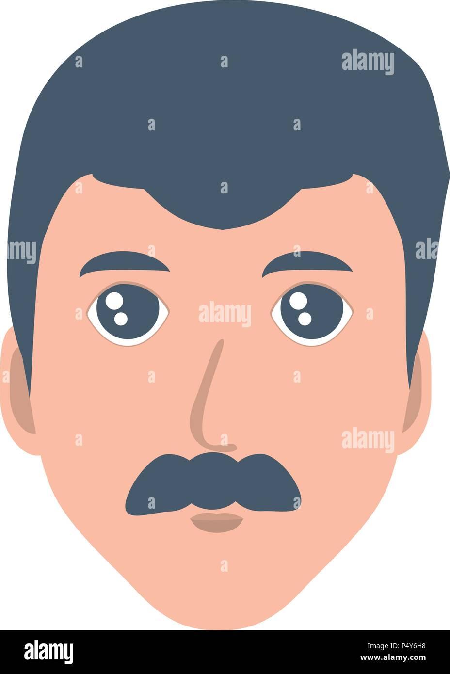 Cartoon uomo con i baffi su sfondo bianco illustrazione