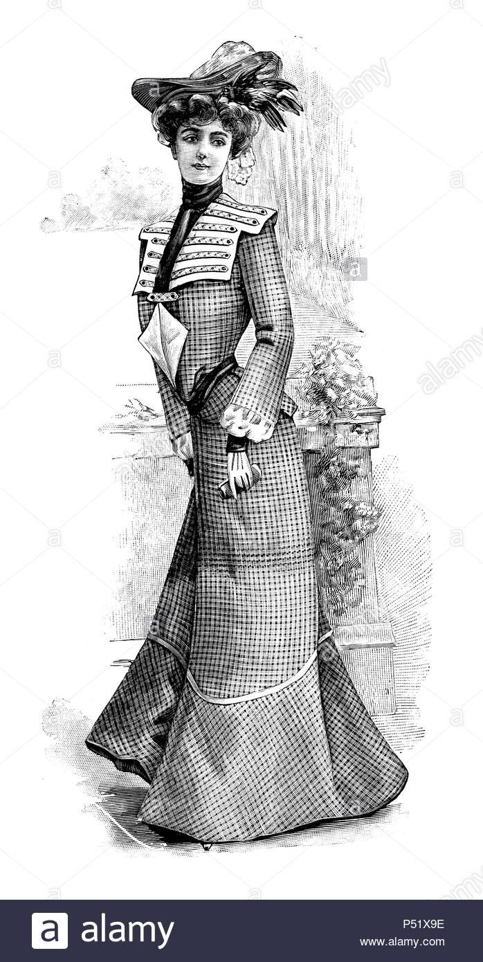 Donna che indossa eleganti abiti vintage con hat. Le illustrazioni incise di La Moda Elegante, pubblicato in Madrid 1902 Immagini Stock