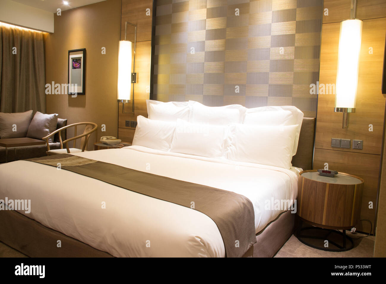 Bella camera da letto lussuosa, condominio, appartamento con letto ...