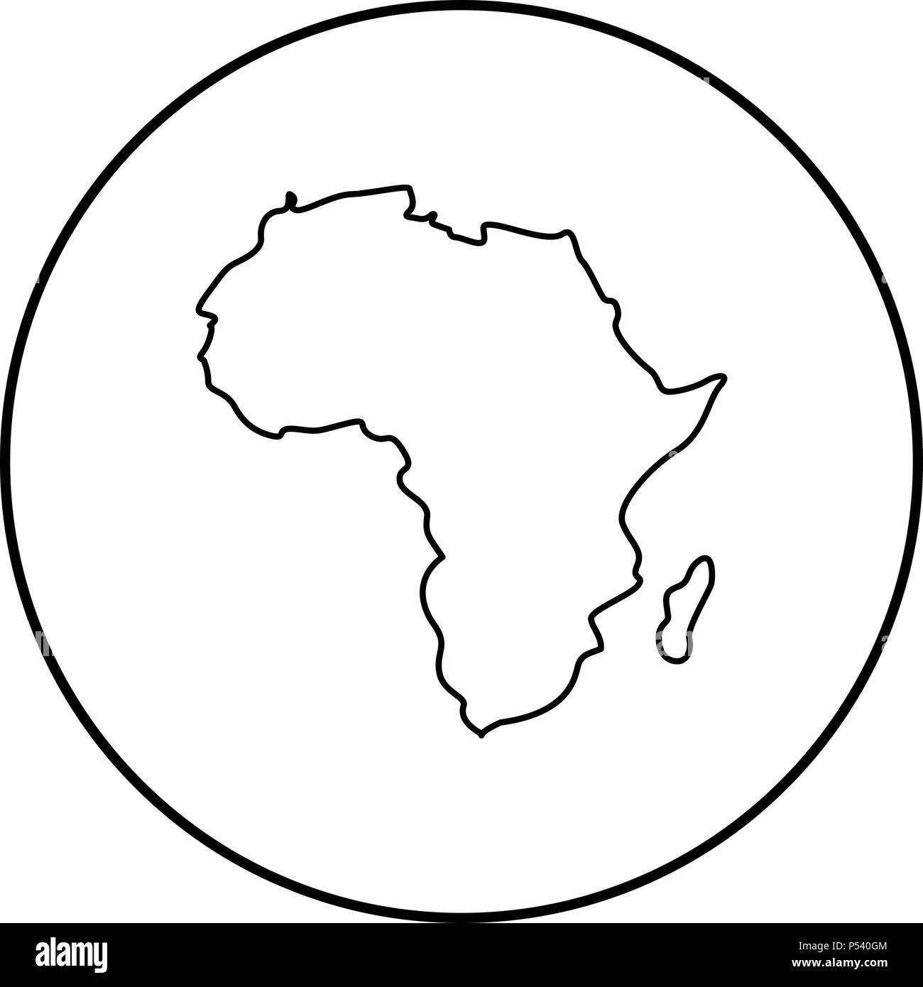 Cartina Dell Africa In Bianco E Nero.Mappa Di Africa Icona Colore Nero Nel Cerchio Profilo Rotondo Immagine E Vettoriale Alamy