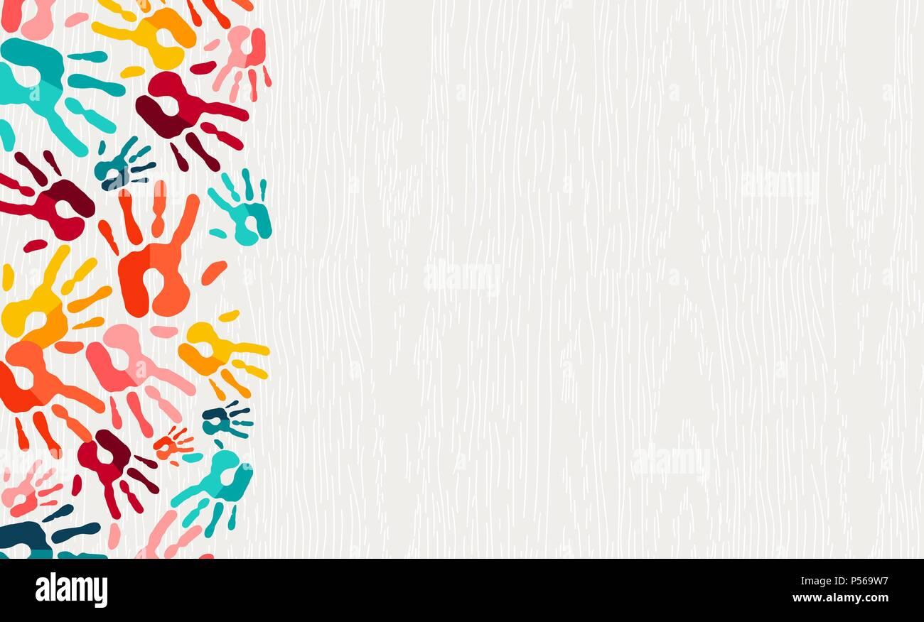 8a3931cf4b Mano umana stampa colore sfondo. Bambini colorati vernice handprints ...