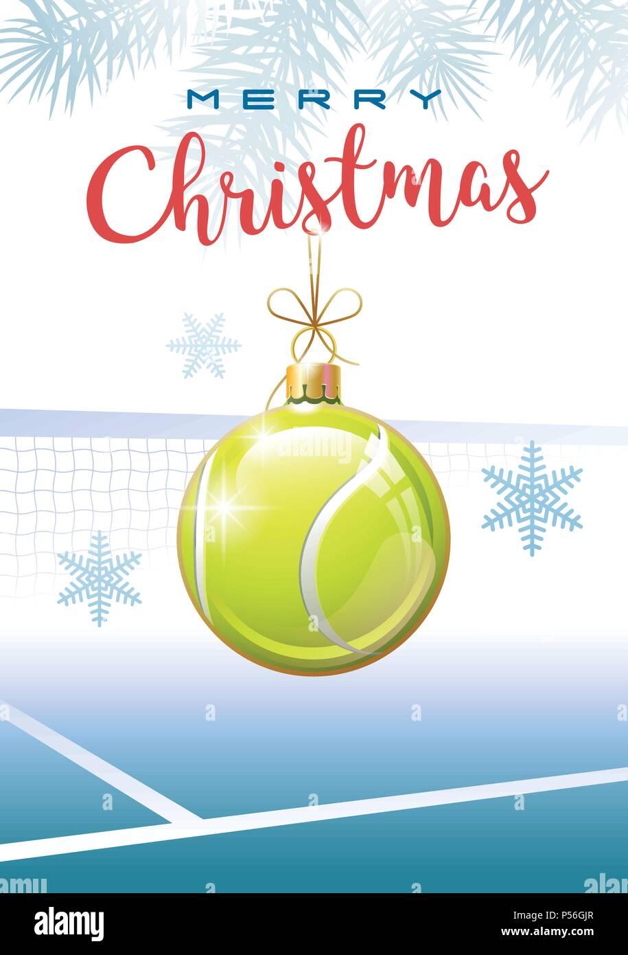Auguri Di Natale Tennis.Auguri Di Buon Natale Sport Biglietto Di Auguri Realistica Palla