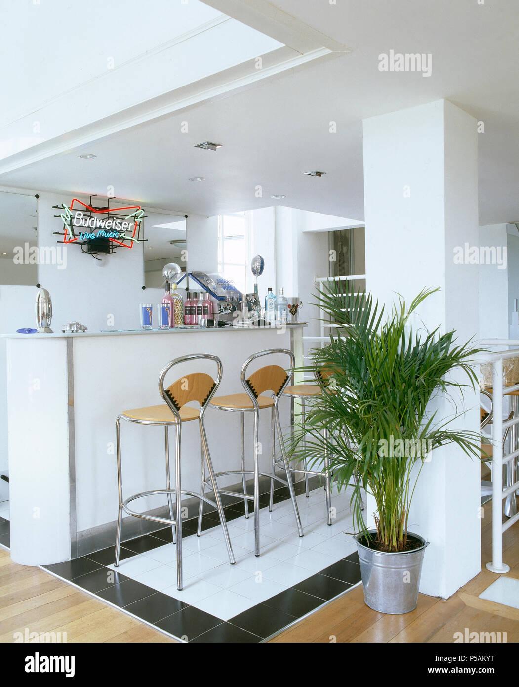 Potted palm nella moderna cucina a pianta aperta con sgabelli ...