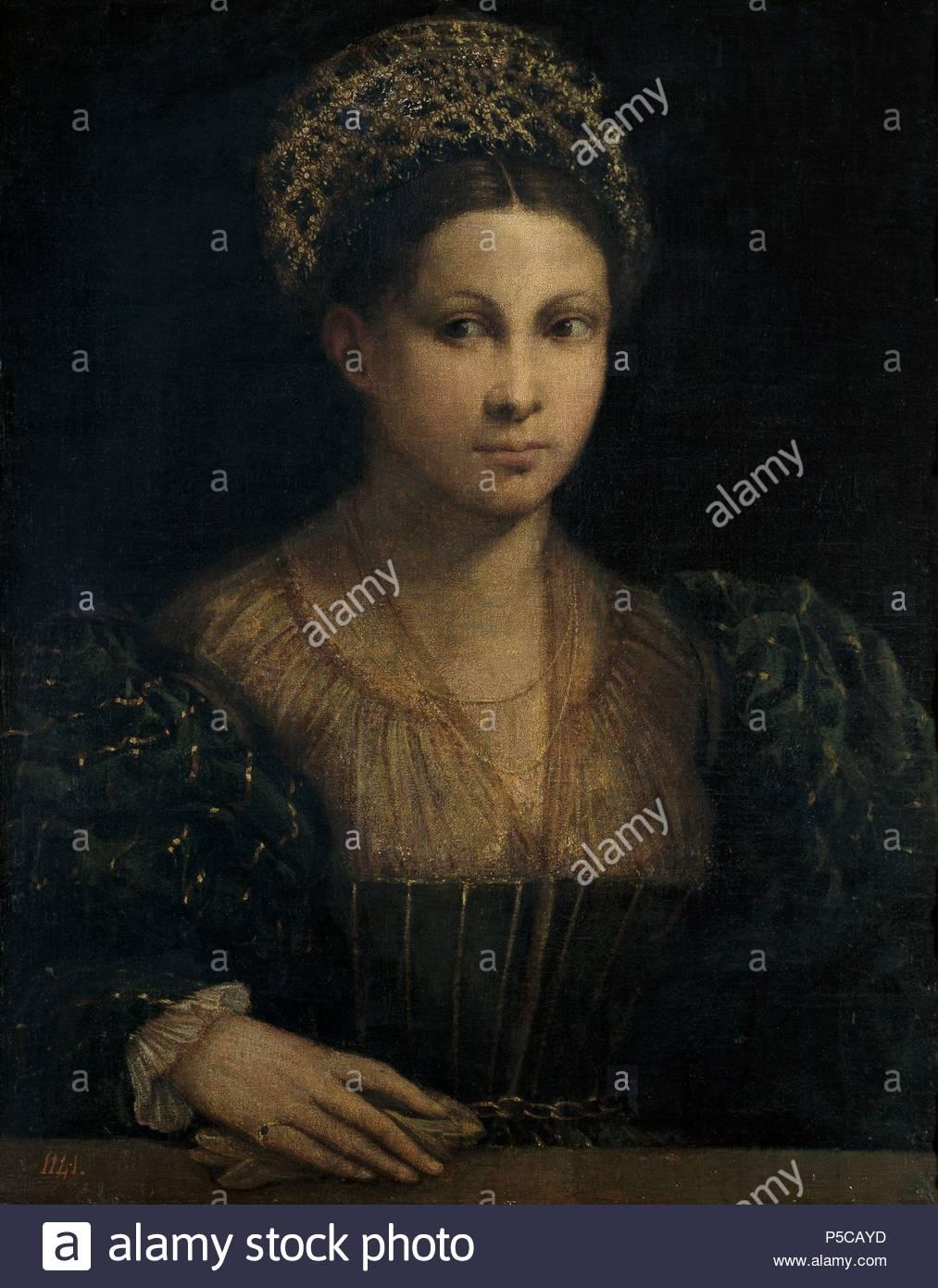 """Dosso Dossi / """" La Signora con il turbante verde"""" ca. 1530, scuola di italiano, olio su tela, 64 cm x 50 cm, P00416. Artwork noto anche come: La dama del turbante verde. Museo: Il MUSEO DEL PRADO. Immagini Stock"""