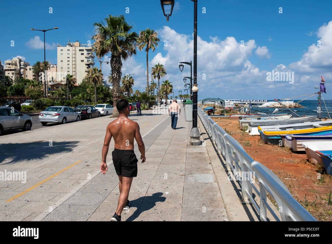 Vista lungo la Corniche a Beirut, in Libano. Immagini Stock