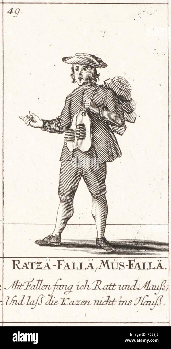 N/A. No. 49 (Verkäufer von Rattenfallen und Mausefallen) aus dem Blatt: Zürcherische Ausruff-Bilder, Nr. 44-52. Ratzä-Fallä, Müs-Fallä. Mit caduti fang ich Ratt und Mauß; und laß die Kazen nicht ins Hauß. . 1748. David Herrliberger (1697-1777) Descrizione incisore svizzero Data di nascita e morte 1697 25 Maggio 1777 Luogo di nascita e morte Zürich Zurigo Opera posizione Amsterdam; Londra; Zürich (1712-1777) Autorità di controllo : Q1174722 VIAF:10640462 ISNI:0000 0000 6675 0032 ULAN:500024202 LCCN:N84056858 Aprire Libreria:OL2162061A WorldCat 290 CH-NB - Ausruff-Bilder 049 - Collezione Gugelmann GS -- Foto Stock