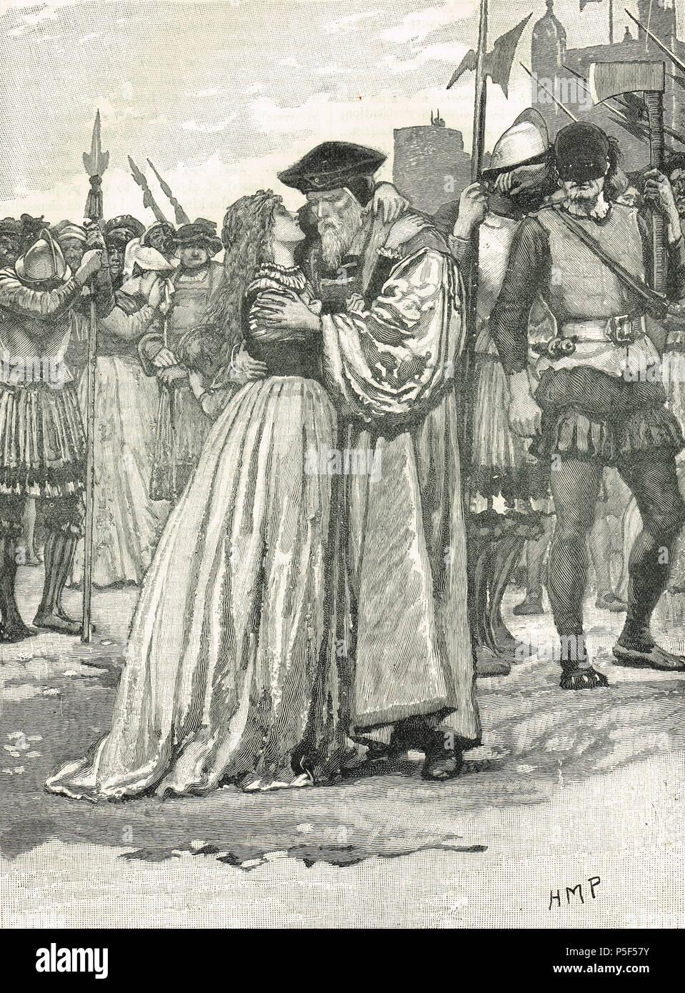 Margaret Roper congedo di suo padre, Sir Thomas More, Torre Wharf, alla sua esecuzione 6 Luglio 1535 Immagini Stock
