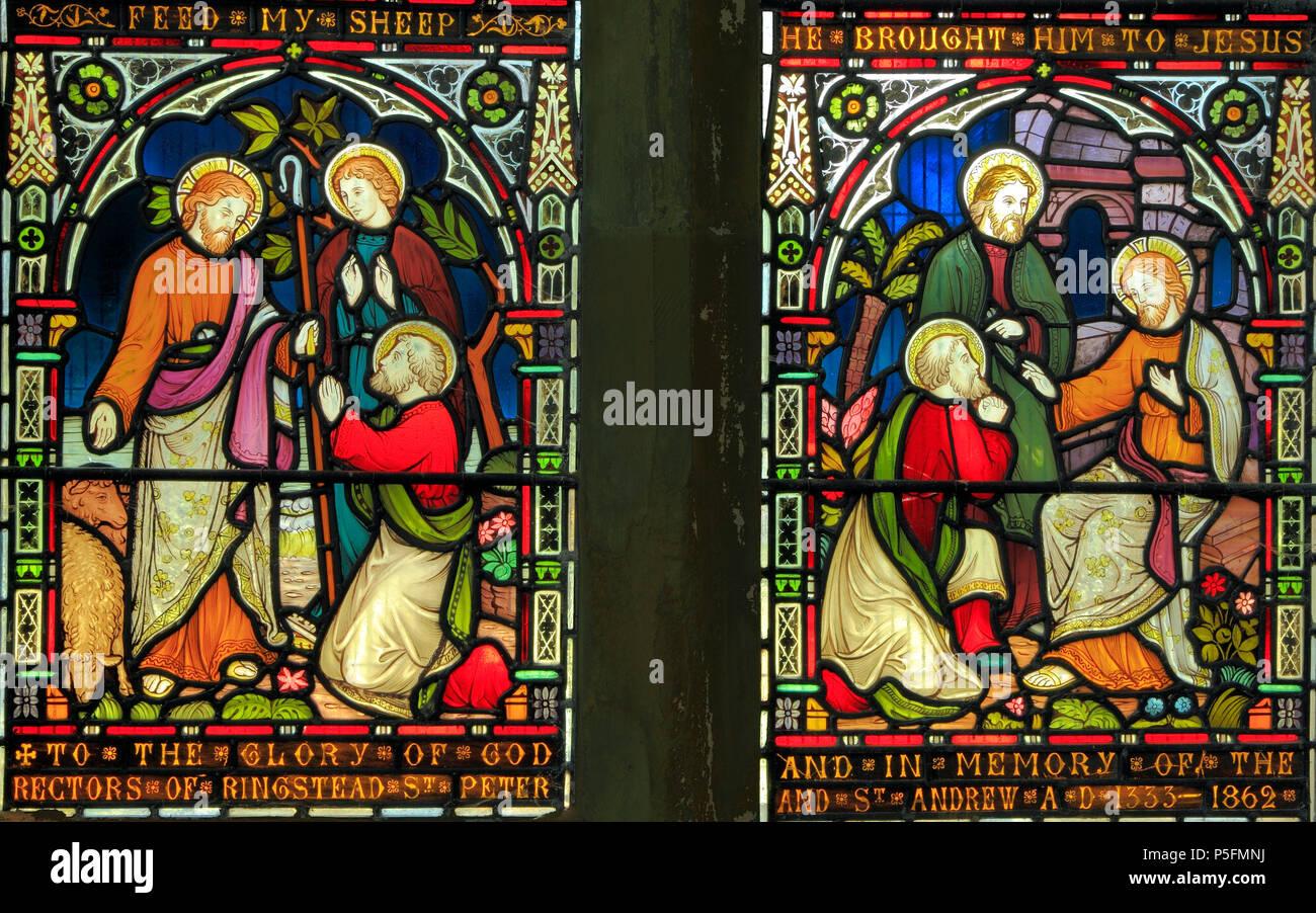 Preedy vetrate, 1862, la dedizione a San Pietro e San Andrea, scene bibliche, Ringstead, Norfolk Immagini Stock