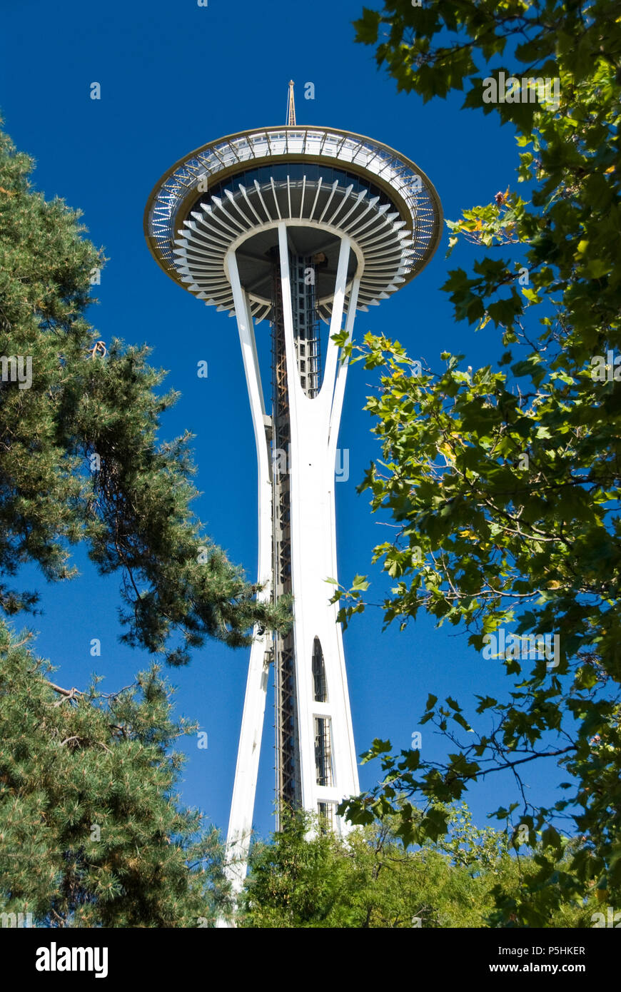 Lo Space Needle, situato presso il centro di Seattle, è stato costruito per il 1962 della fiera del mondo ed è diventato il simbolo di Seattle. Immagini Stock