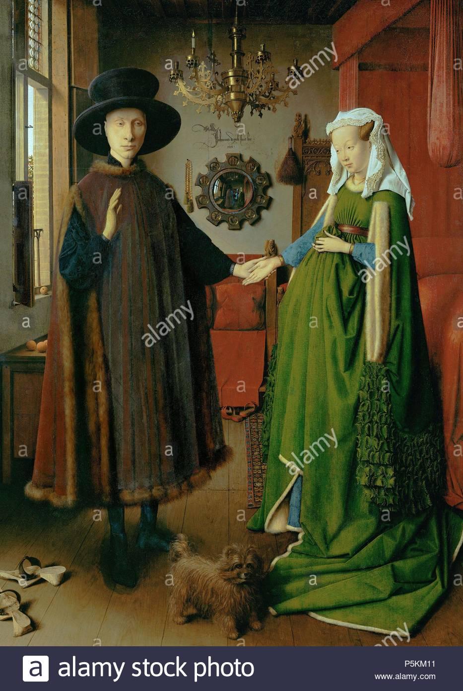 """Jan van Eyck / 'l'Arnolfini Portrait"""", 1434, olio su pannello, 82 x 60 cm. Artwork noto anche come: Retrato de Giovanni Arnolfini y su esposa. Museo: Galleria Nazionale. Immagini Stock"""