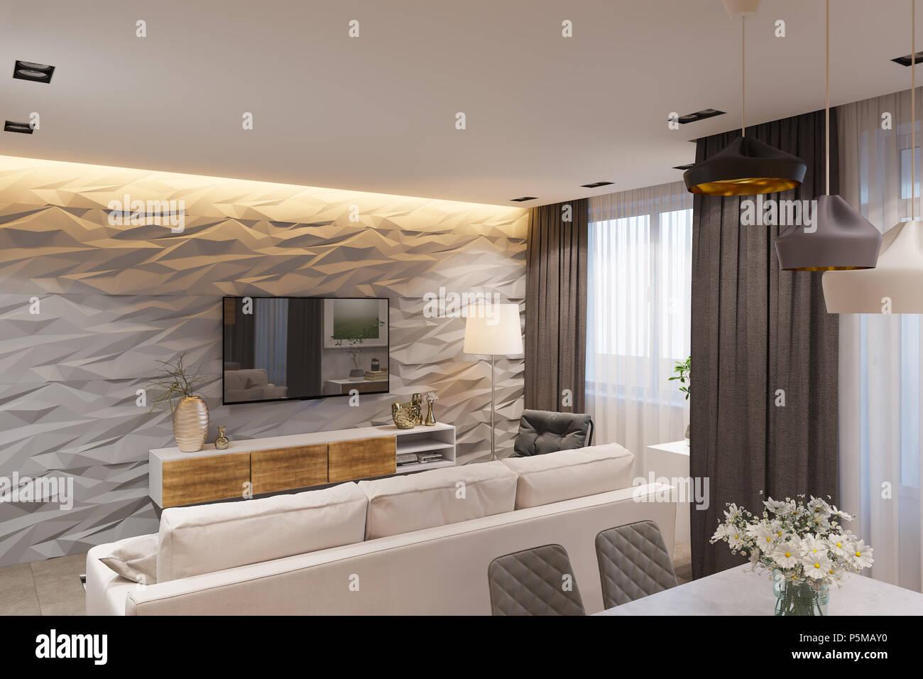 Interior design in stile scandinavo, soggiorno e cucina. 3d ...