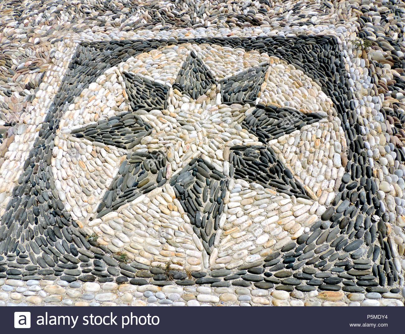 Mosaico di pietra rosa dei venti a stella foto & immagine stock