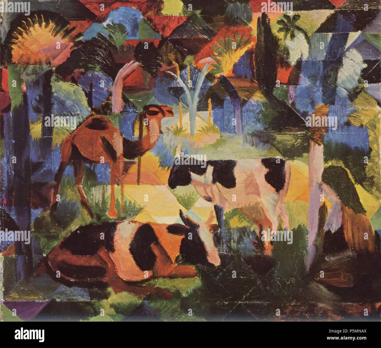 Deutsch: Landschaft mit Kühen und Kamel 1914. N/A 150 August Macke 025 Immagini Stock