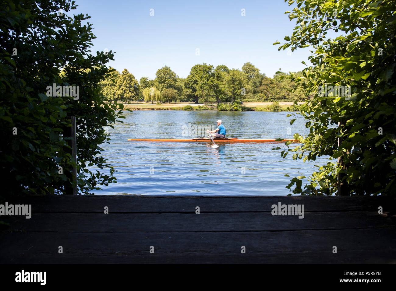 Vogatore Sculling sul Fiume Tamigi a Henley on Thames in Oxfordshire UK Immagini Stock