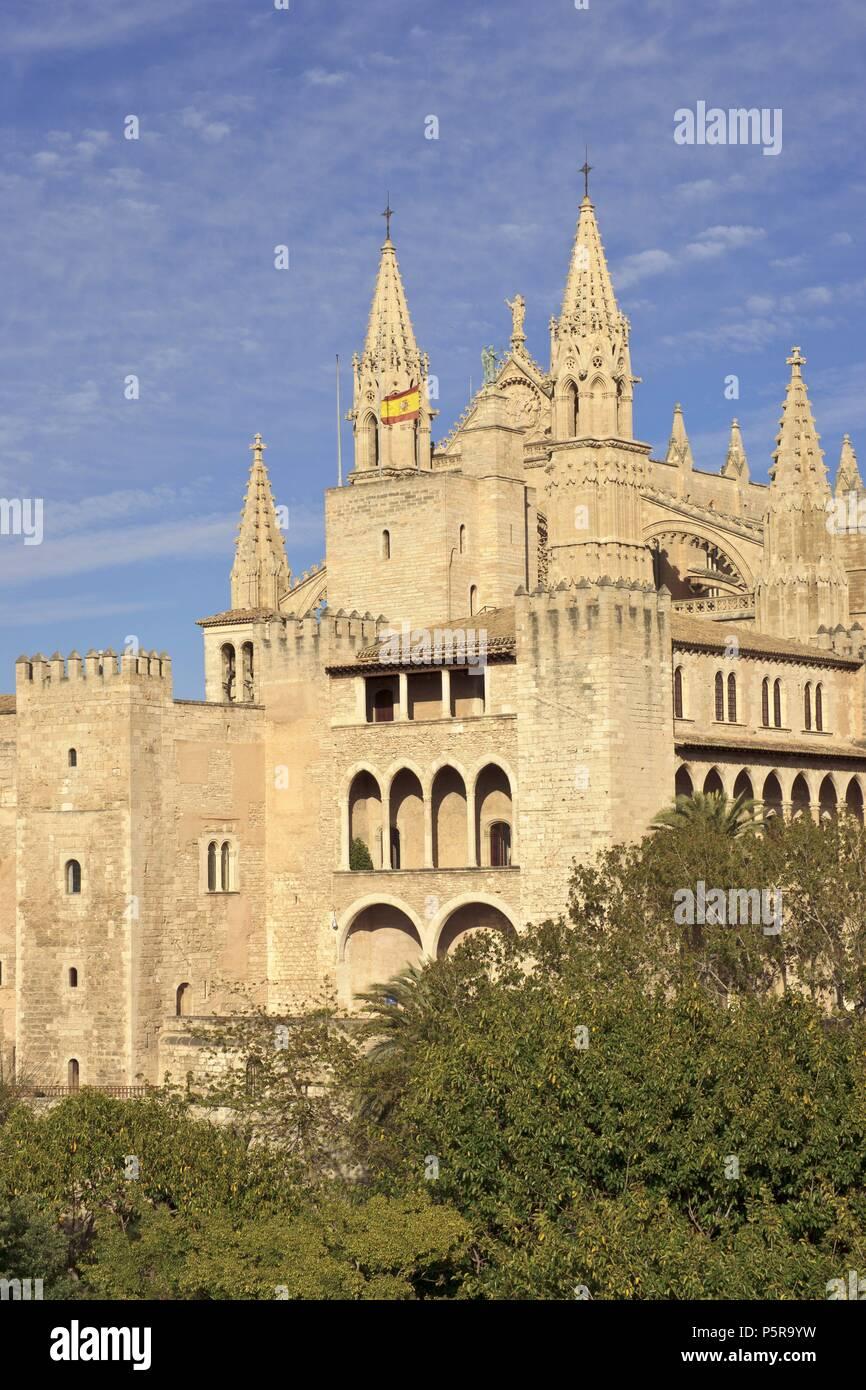 Palacio Real de la Almudaina , siglos XIII-XXI. Palma.Mallorca.Islas Baleares. Spagna. Immagini Stock